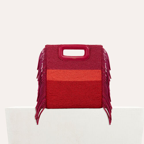 Sheepskin M bag with beads : M bags color Raspberry