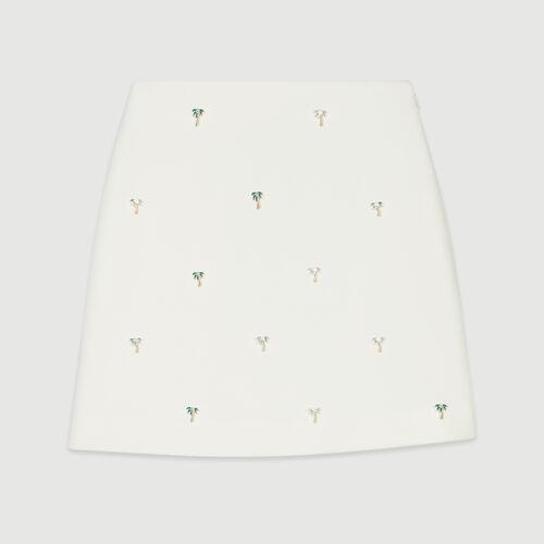 Jupe courte avec bijoux palmiers : Pap_Jupes-Shorts couleur Ecru