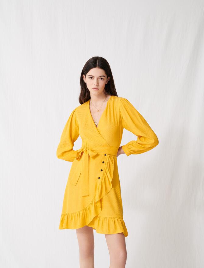 Sunny yellow wrap tie dress -  - MAJE
