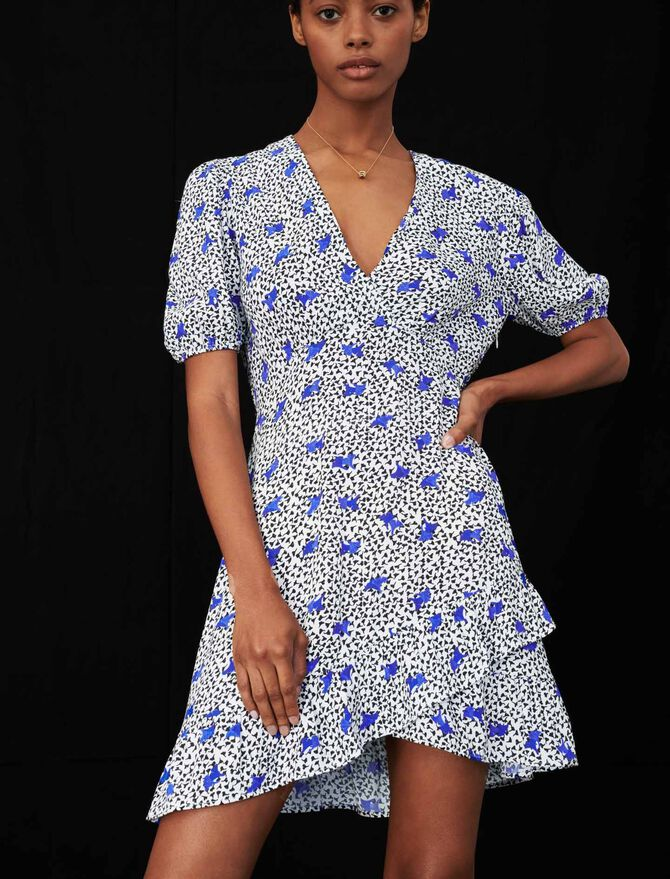 Printed crêpe dress with ruffles - Dresses - MAJE