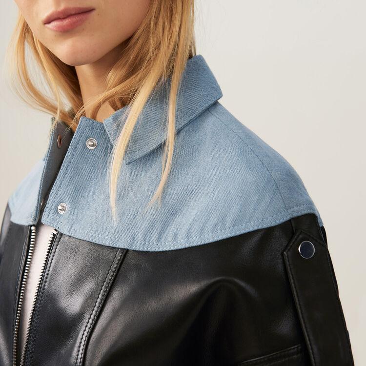 Leather and denim jacket : Jackets color Black 210