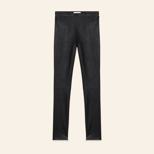 Stretch leather leggings : Trousers color Black 210