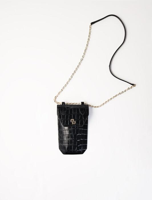 Porte-téléphone en cuir embossé : Pap_Toutvoir couleur Noir