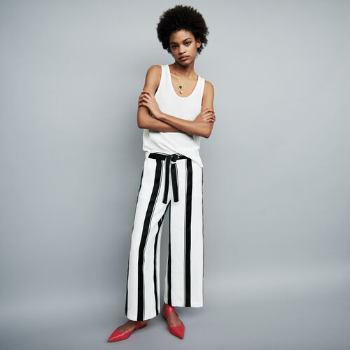 High waist trousers : Trousers color Stripe