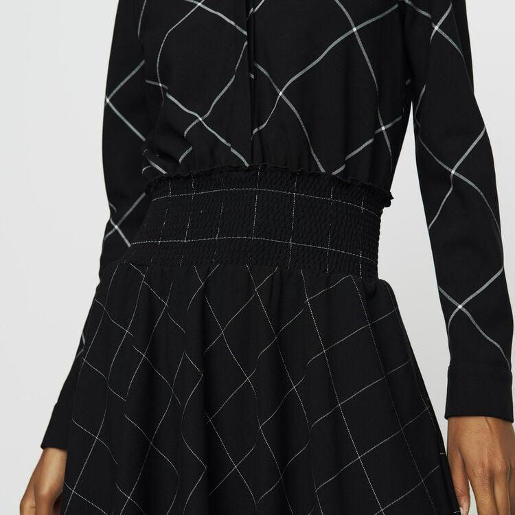 Asymmetric plaid shirt dress : Dresses color CARREAUX