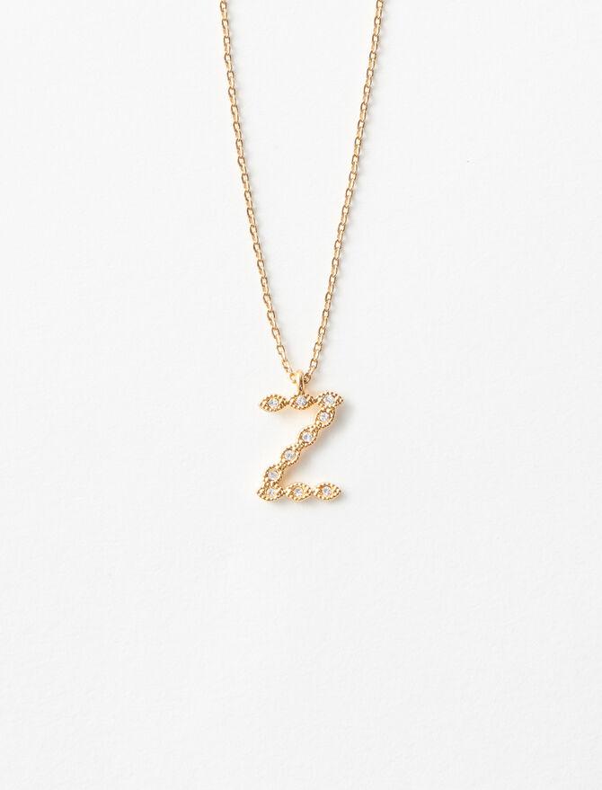 Rhinestone Z necklace - Alphabet necklaces - MAJE