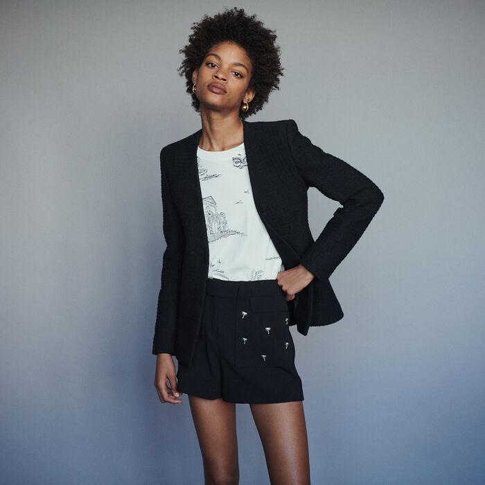 Collarless tweed-style jacket : Blazers color Black 210