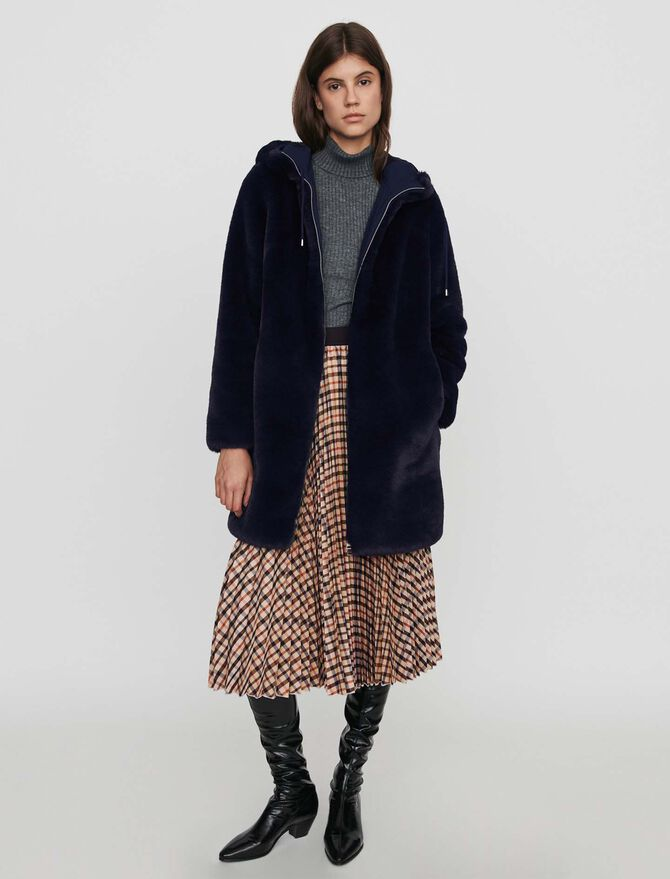 Hooded faux fur jacket - Coats & Jackets - MAJE