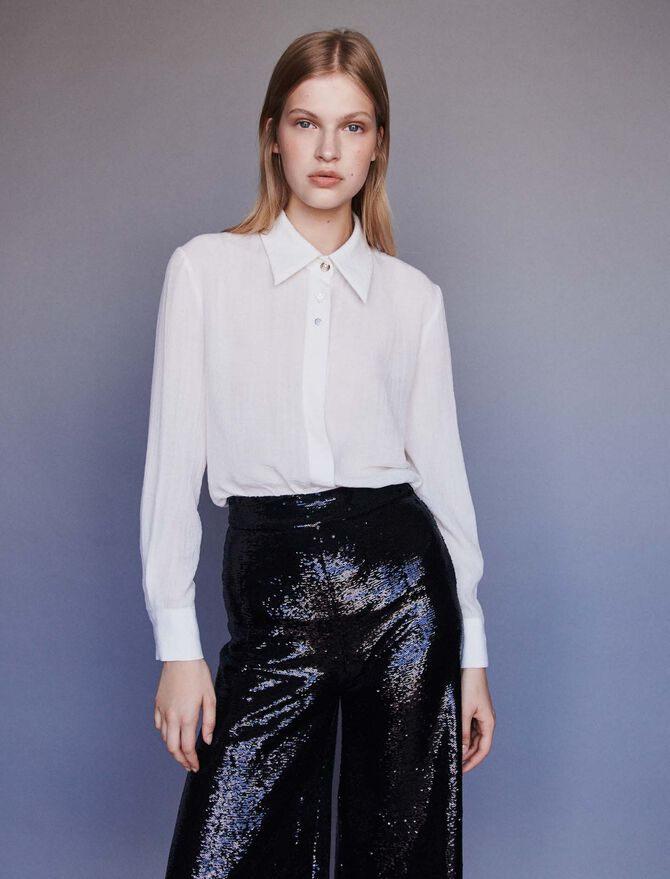 Pussy-bow shirt with jeweled buttons - Tops & Shirts - MAJE