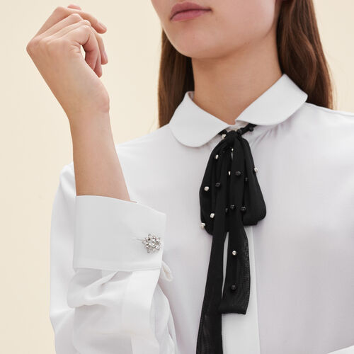 Silk blouse with tulle tie : Shirts color White