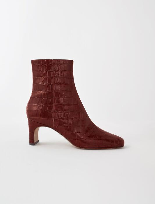 Bottines cuir embossé croco : Chaussures_Toutvoir couleur Cognac