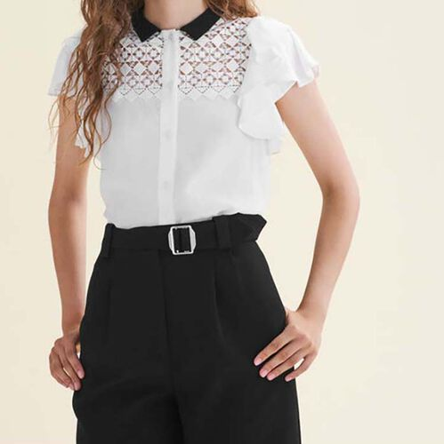 Two-tone frilled blouse with embroidery : Shirts color Off White