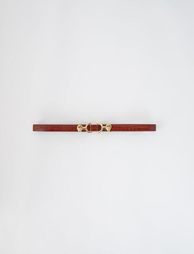 Croc-effect leather and horsebit belt -  - MAJE