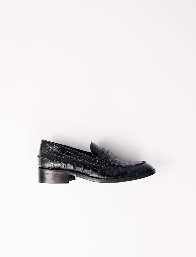 Mocassins en cuir de veau style croco - Chaussures_Toutvoir - MAJE
