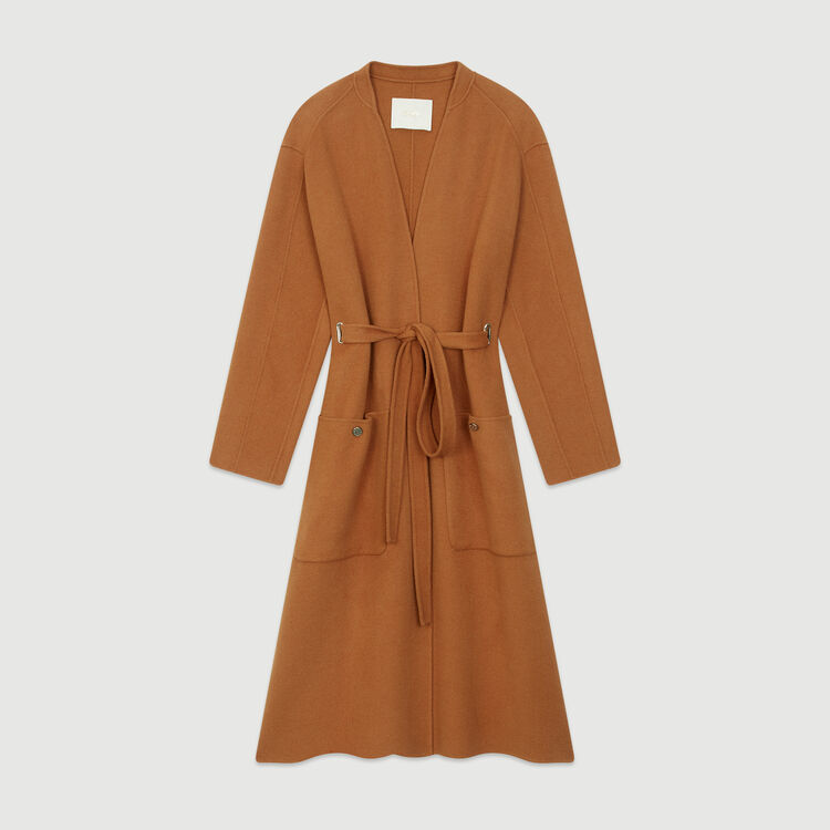 Long double-face wool coat : Coats color Caramel
