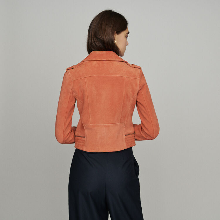 Suede jacket : Coats & Jackets color Coral