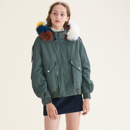 Jacket with multicoloured fur : Coats color Khaki