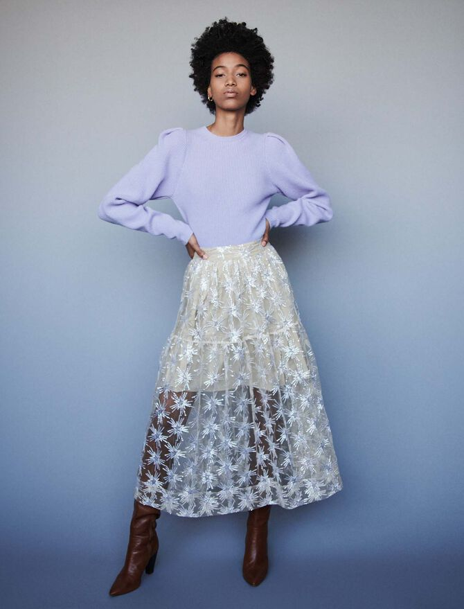 Sequin-embroidered tulle skirt - Pre_Soldes_Jupes_Shorts - MAJE