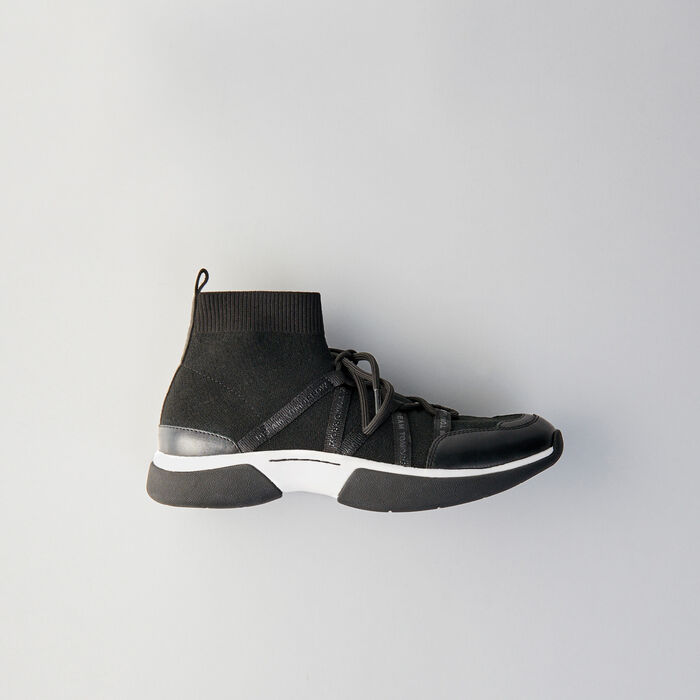 High-top sneakers in stretch fabric : Sneakers color Black