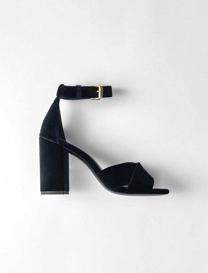 Heeled velvet sandals -  - MAJE