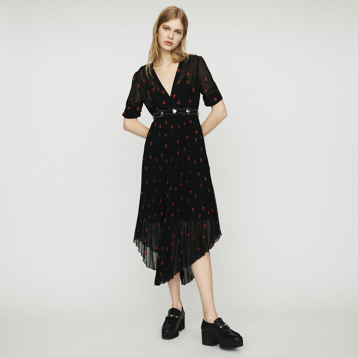 Pleated dress with heart embroidery : Dresses color Black 210