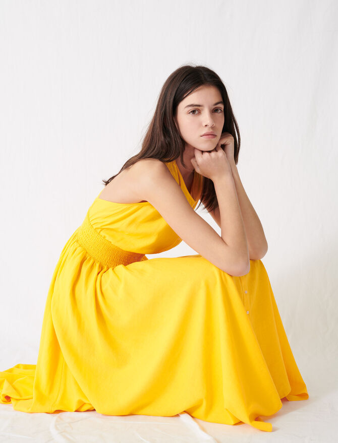 Sunny yellow smocked linen dress -  - MAJE