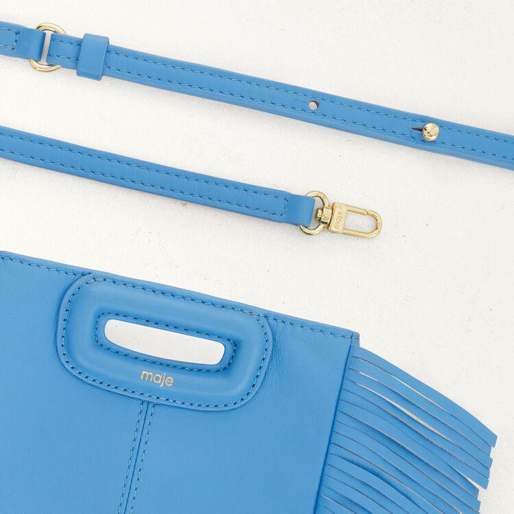 M mini-bag with leather fringes : M Mini color Blue