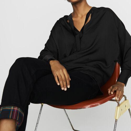 Crepe blouse : Tops color Black 210