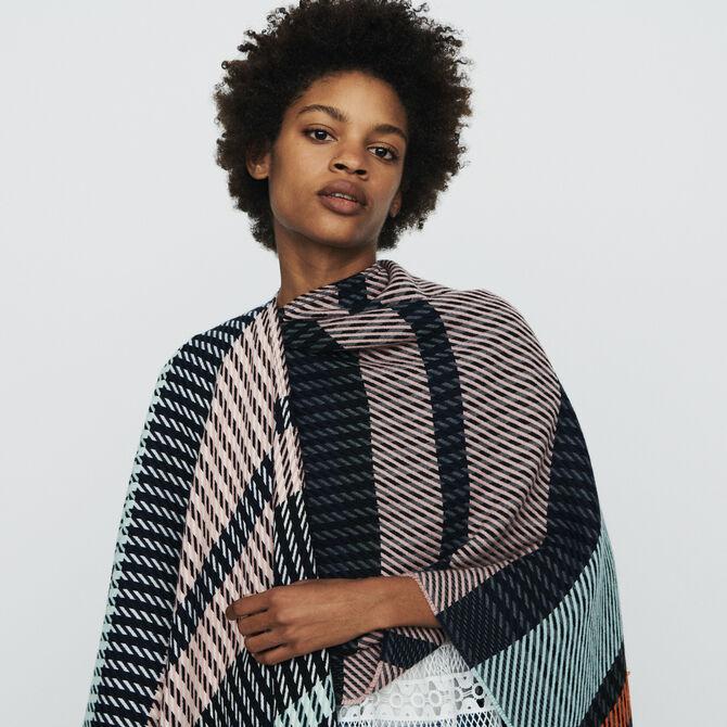Poncho in stripes - Shawls & Ponchos - MAJE