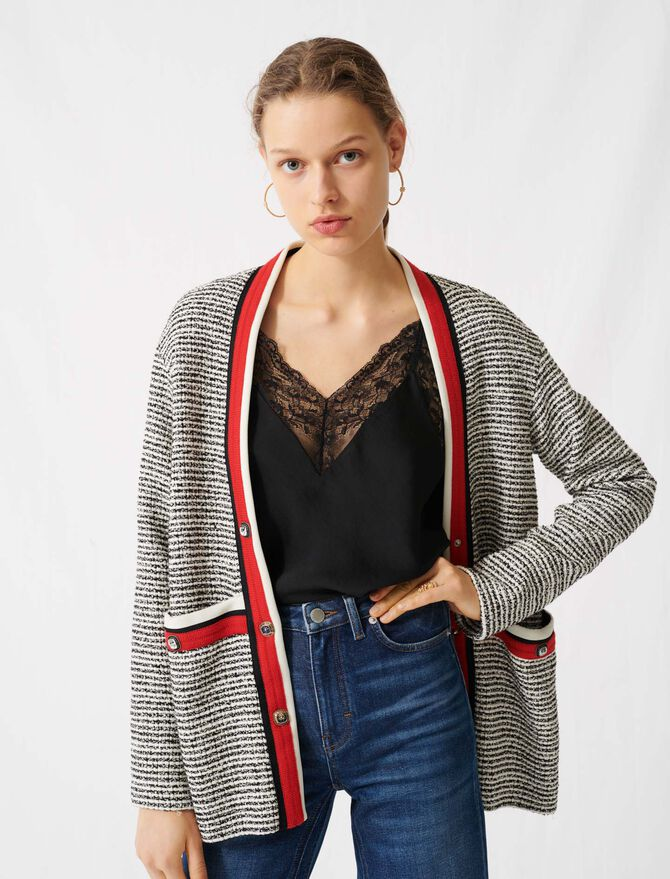 Tweed-effect cardigan, colourful bands - Pullovers & Cardigans - MAJE