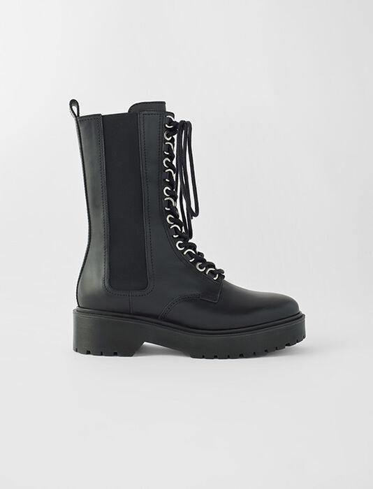 Bottines hautes en cuir noir : SoldesFR_Accessoires couleur Noir