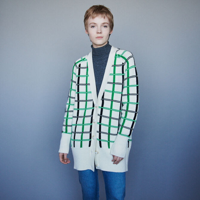 Plaid jacquard cardigan - Knitwear - MAJE