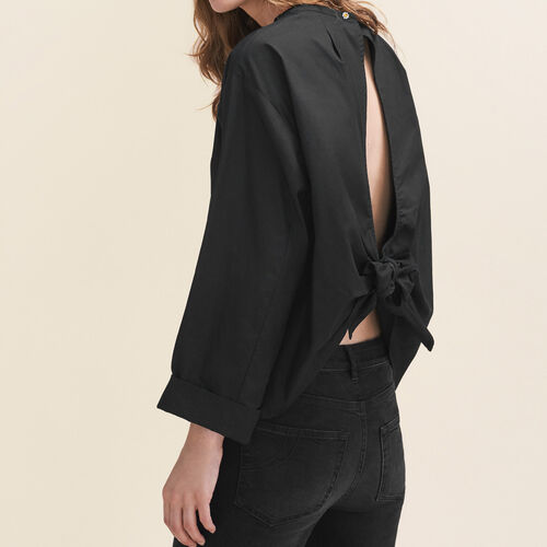 Wide-cut blouse with open back : Tops color Black 210