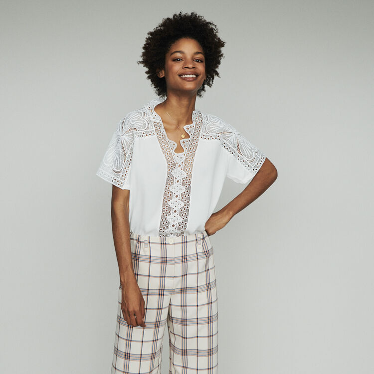 Guipure top : Tops & Shirts color Off White