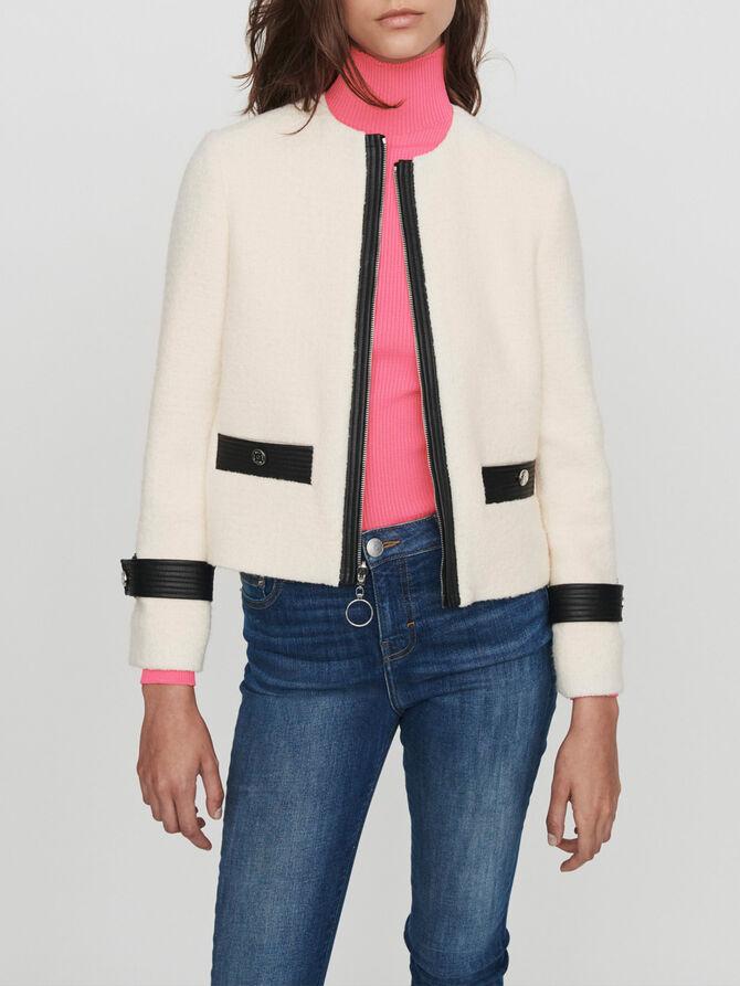 Zipped tweed-style contrast jacket - Blazers - MAJE