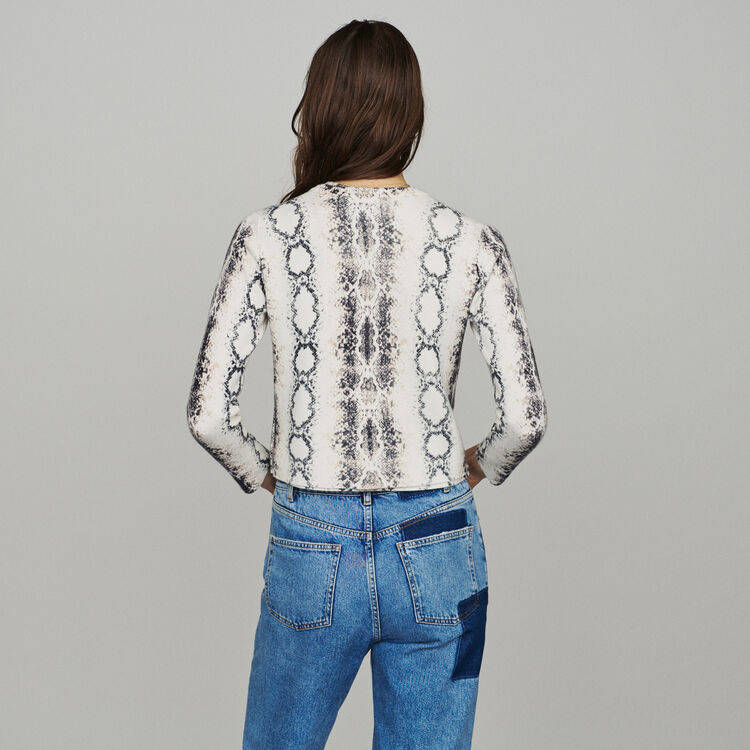 Short cardigan in python print : Knitwear color PRINTED
