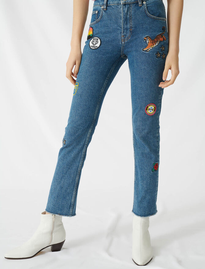Straight jeans with embroidered patches - All the collection - MAJE