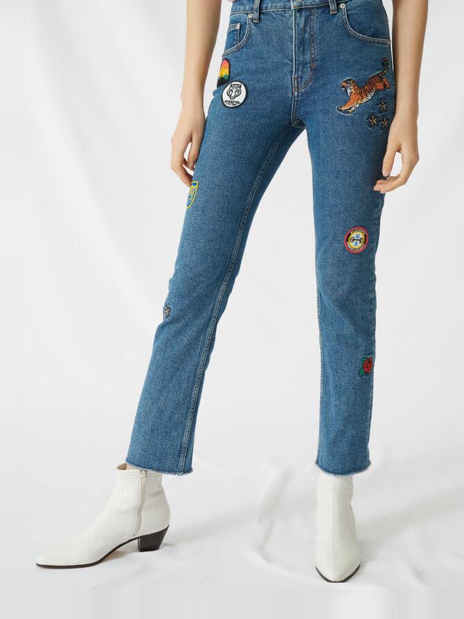 Jean droit à patchs brodés - Pap_Pantalons-Jeans - MAJE