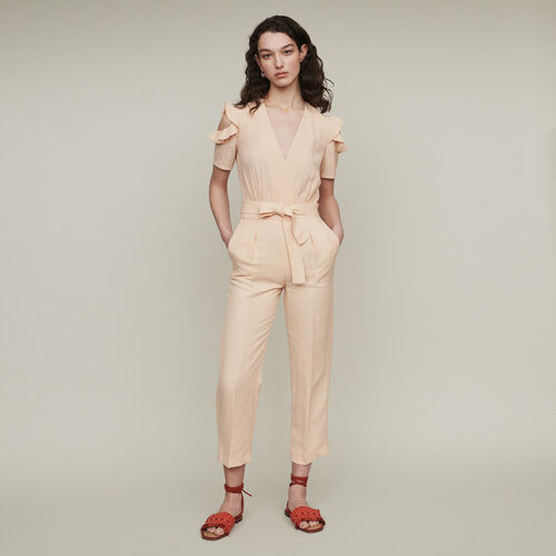 Bimaterial jumpsuit : Trousers & Jeans color Mandarine