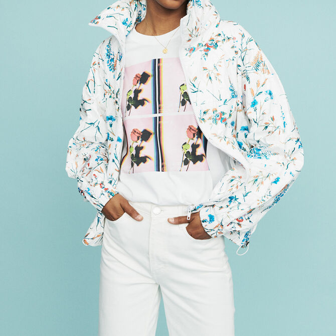Windbreaker with floral print - Coats - MAJE