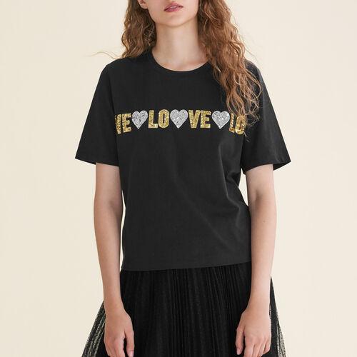 Cotton T-shirt with sequins : T-Shirts color Black 210