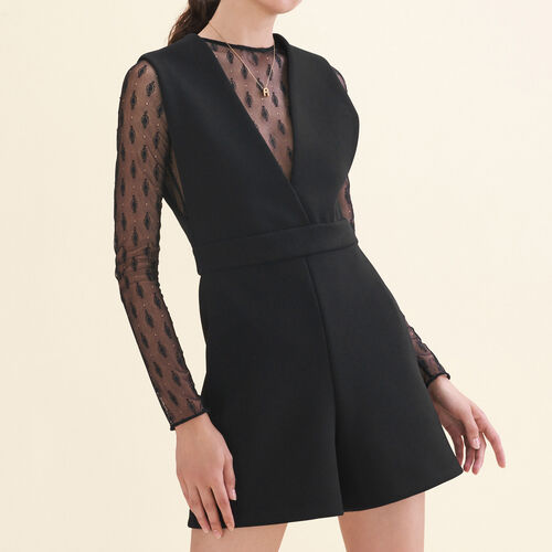 Dual-material playsuit : See all color Black 210