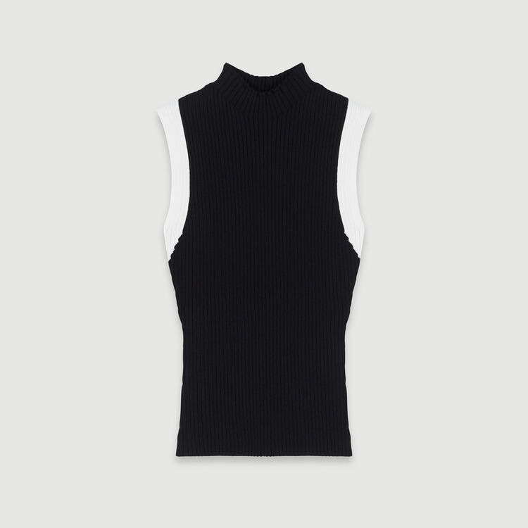 Light sleeveless contrast ribbed sweater : Pullovers & Cardigans color Black
