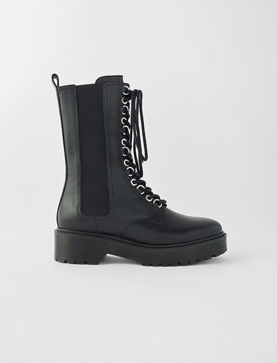 Black leather high-heeled boots