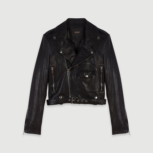 Leather biker-style jacket : Winter collection color Black