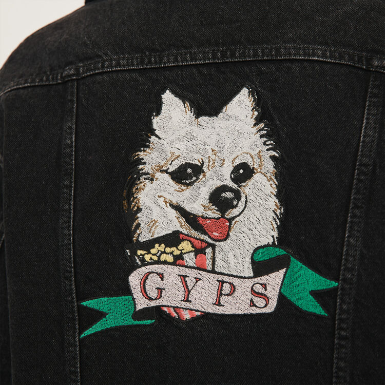 Jean jacket with embroidered patches : Coats & Jackets color Black