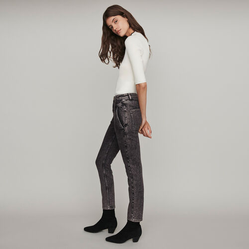 High-rise faded jeans : Winter collection color Anthracite