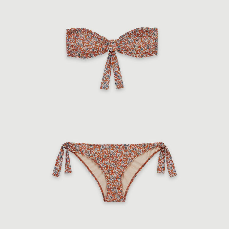Floral-print cotton bra and panties : All the collection color Terracota