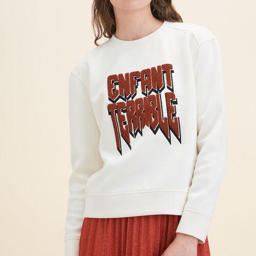 Neoprene Sweatshirt : Sweaters & Cardigans color Ecru