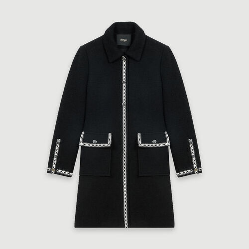Tweed-style contrast coat : Coats & Jackets color Black